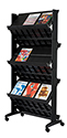 Mobile Double Sided Literature Display w/6 Shelves - BLACK