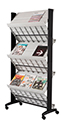 Mobile Double Sided Literature Display w/6 Shelves - GREY