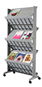Mobile Double Sided Literature Display w/6 Shelves - SILVER