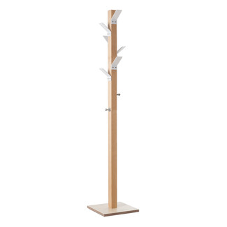 Wooden Coat Stand with White Hooks