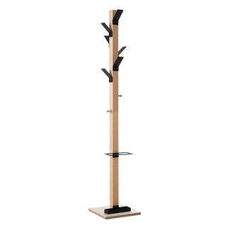 Wooden Coat Stand with Black Hooks & Umbrella Holder