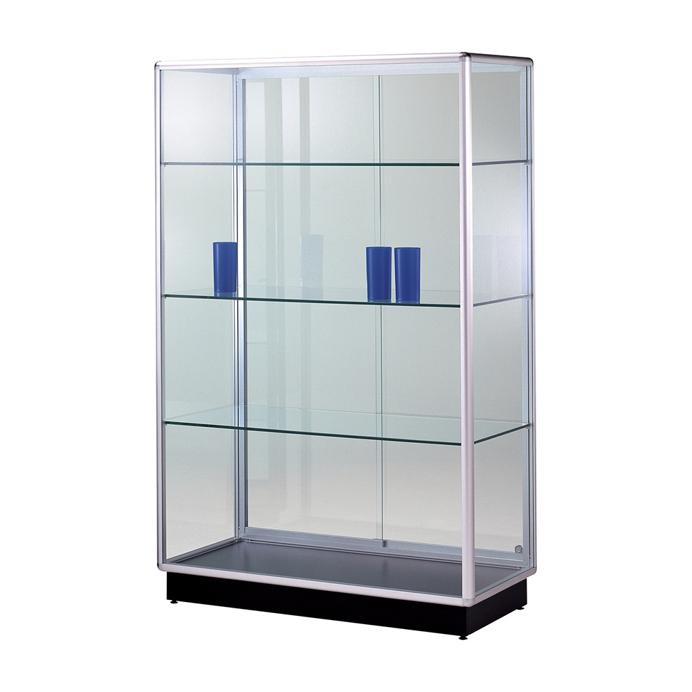 48 w x 72 h x 18 d display case w 4 plinth glass back for 18 x 48 window