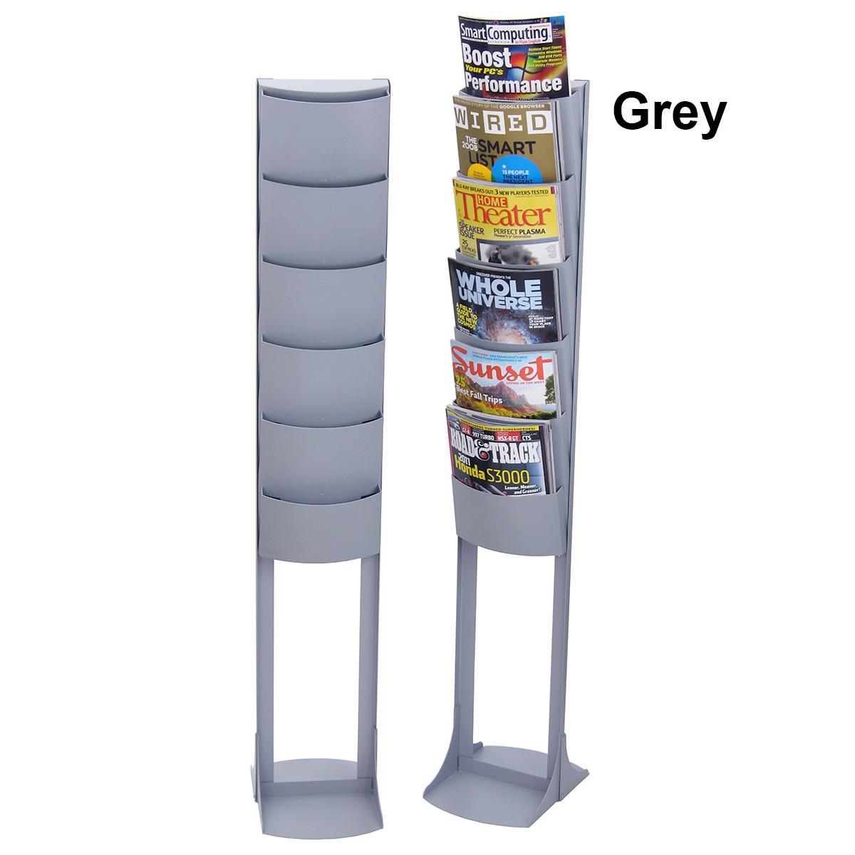 6 Pocket Floor Standing Plastic Literature Rack