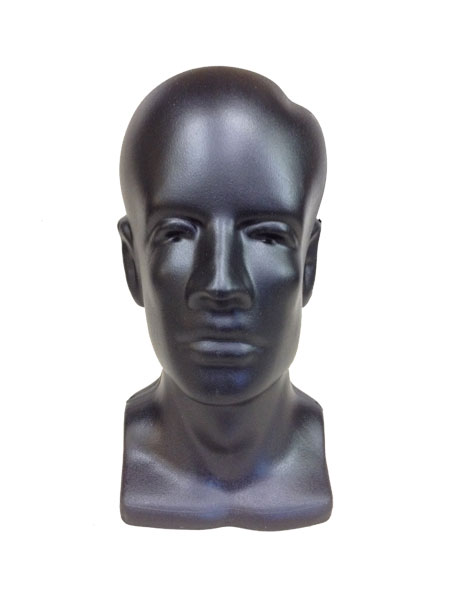 Full Round Molded Male Mannequin Display Head Black