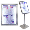 Stainless Steel Glass LED Poster Display - Silver