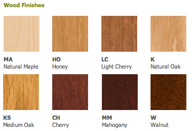Wood Finish Chart For Corporate Series Display Cases