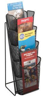 4 Pocket Table Top Pamphlet Display Stand, Wire Mesh