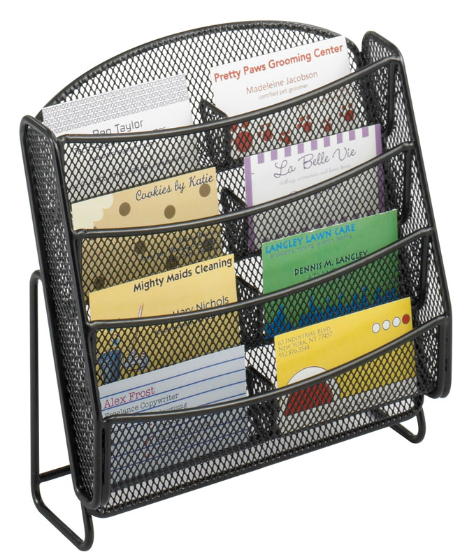 8 Pocket Table Top Business Card Display Stand, Wire Mesh - Box of 6