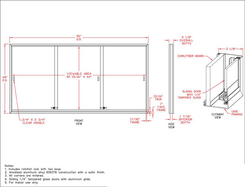 96w X 48h Sliding Glass Door Enclosed Bulletin Board