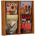 4 Pocket Wall Mount Oak Literature Rack