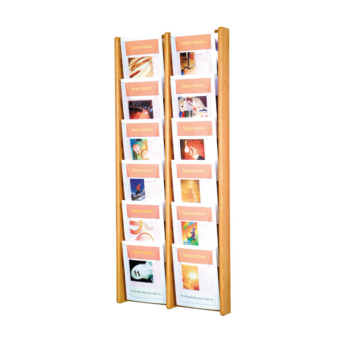 12 Pocket Wall Mount Oak Literature Rack