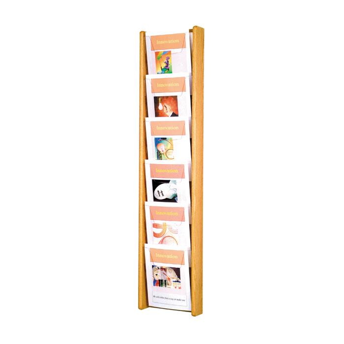 6 Pocket Wall Mount Oak Literature Rack