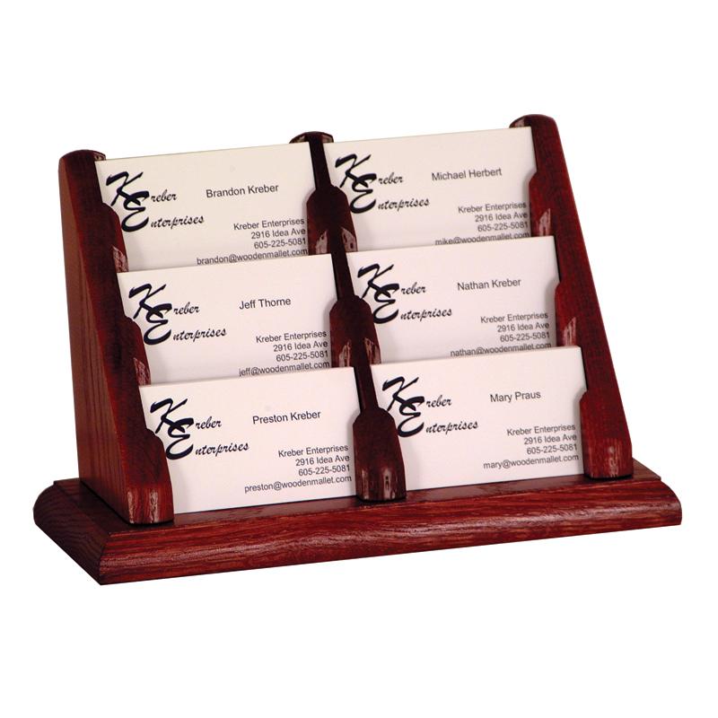 6 Pocket Oak Business Card Holder
