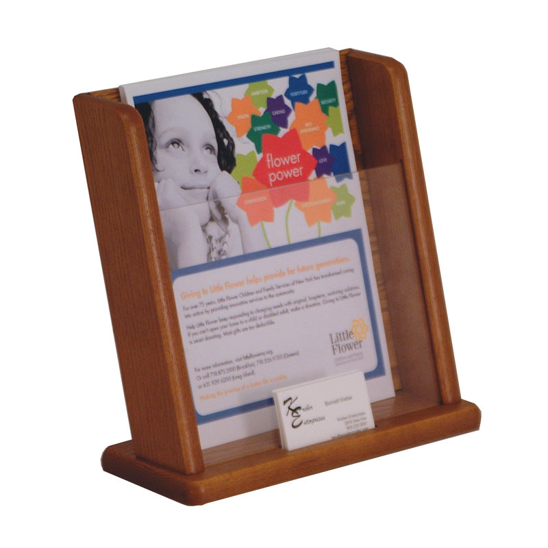 Oak Countertop Literature Display with Business Card Holder