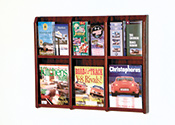 6 or 12 Pocket Wallmount Oak Brochure or Magazine Rack