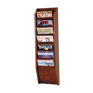 7 Pocket Oak Magazine Literature Rack